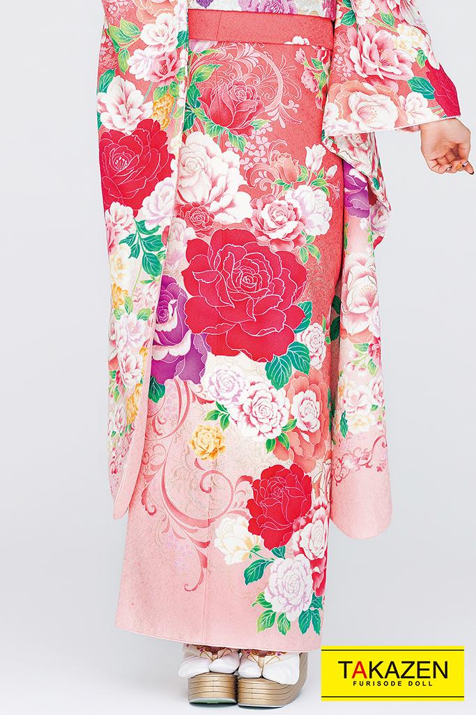【成人式人気着物/レンタルフルセット/通販可】キュート(ゆるふわ可愛い薔薇) 白/ピンク/オレンジ 32164