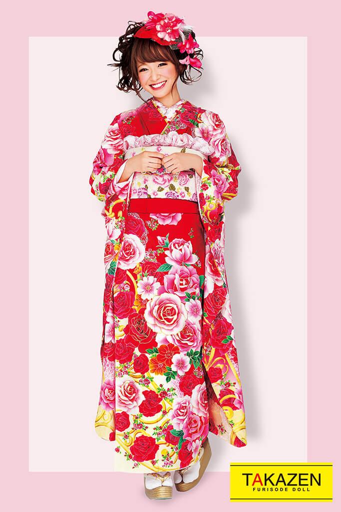 【成人式人気振袖/着物/通販レンタル】バラ柄キュート系(ゆるふわ可愛い) 白/ピンク/赤 32165