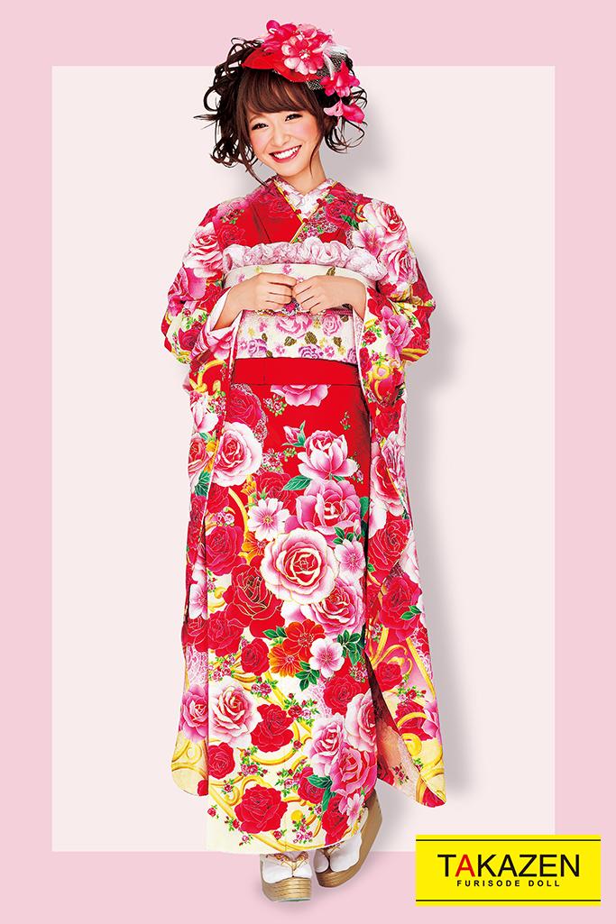 【成人式人気着物/レンタルフルセット/通販可】キュート(ゆるふわ可愛いバラ) 白/ピンク/赤 32165