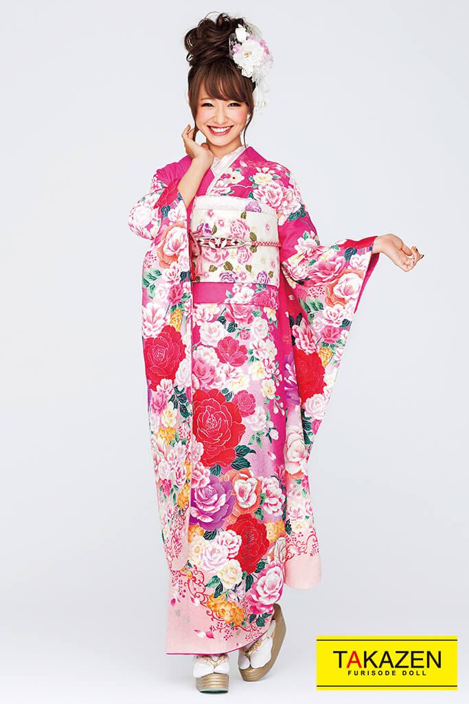【成人式人気振袖/レンタルフルセット/通販可】キュート(ゆるふわ可愛いバラ) 白/ピンク/赤 32166