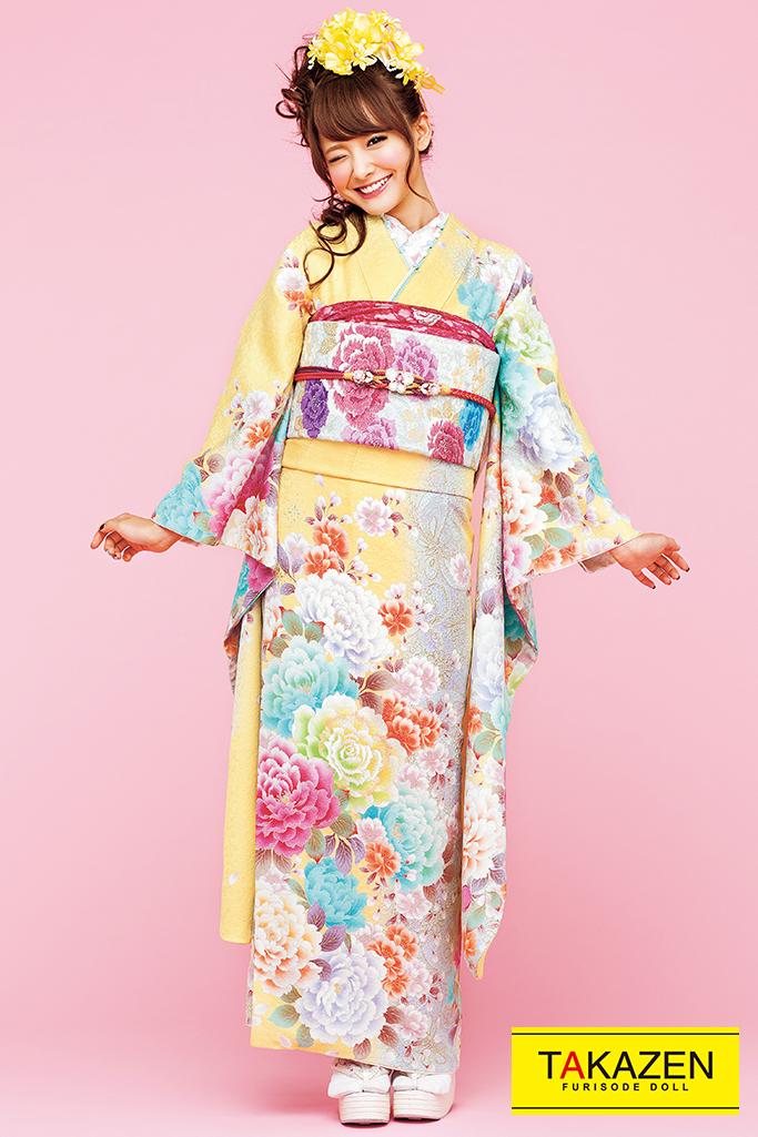 【成人式人気着物/レンタルフルセット/通販可】キュート(ゆるふわ可愛いバラ) 白/ピンク/黄色 32167