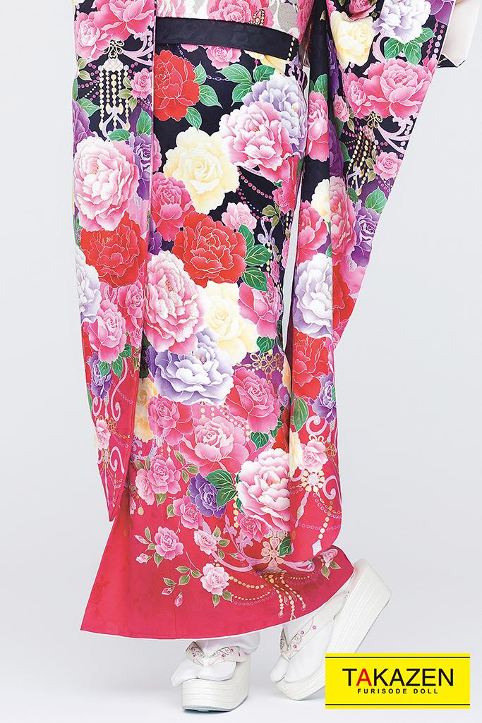 【成人式人気振袖/レンタルフルセット/通販可】キュート(ゆるふわ可愛いバラ) 白/ピンク/黒 32168