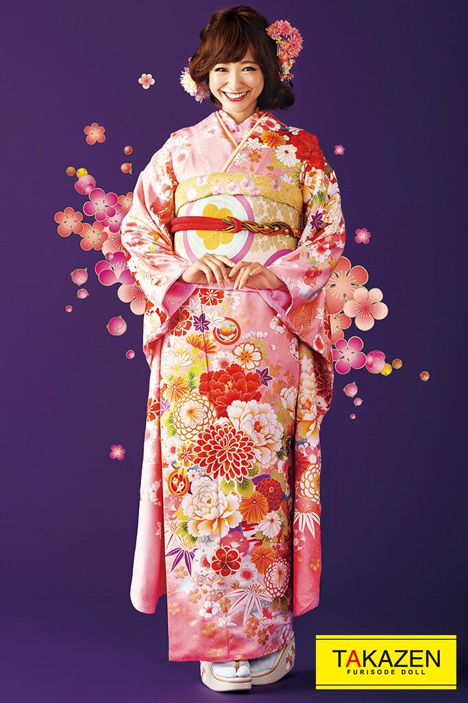 【成人式人気振袖/レンタルフルセット/通販可】プチプラ可愛い上品古典(格安で激安) ピンク