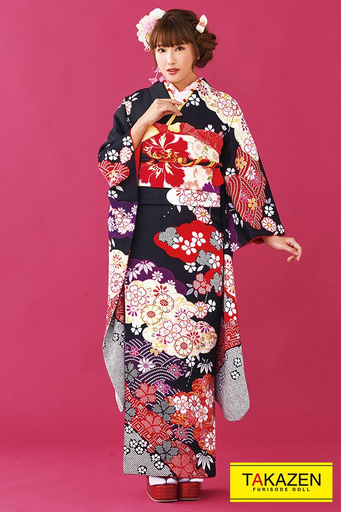 【成人式人気着物/レンタルフルセット/通販可】可愛い上品古典(お得で安い!) 黒/赤 32178