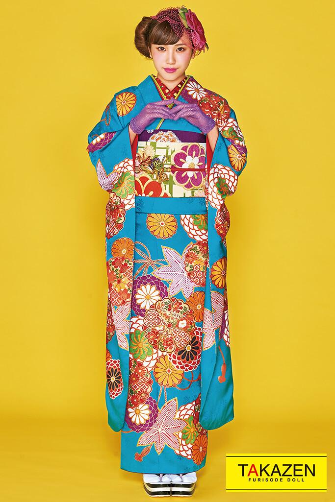 【成人式人気着物/レンタルフルセット/通販可】可愛い上品古典(格安で激安プライス) オレンジ/グリーン(緑色) 32182