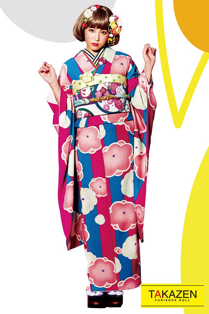 【成人式人気着物/レンタルフルセット/通販可】個性的レトロモダン(お得で安い!) ピンク/ブルー(青色) 32185