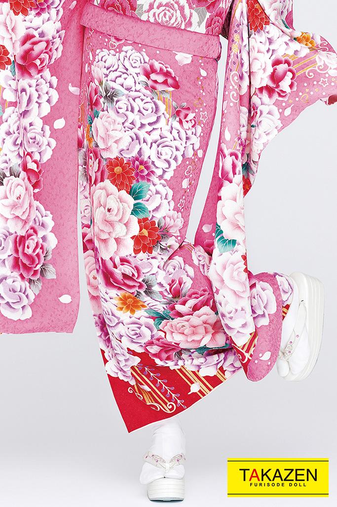 【成人式人気着物/レンタルフルセット/通販可】キュート可愛い(お得で安い!) ピンク/白/赤 32186