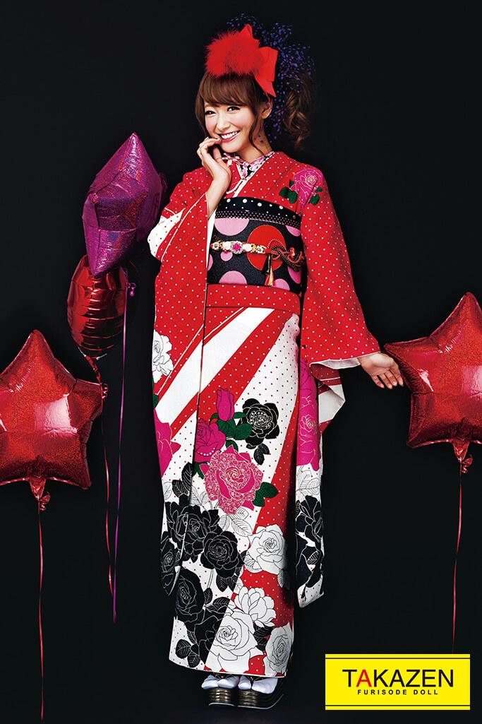 【成人式人気着物/レンタルフルセット/通販可】ドット柄可愛い(お得で安いプチプラ!) ピンク/黒/赤 32189