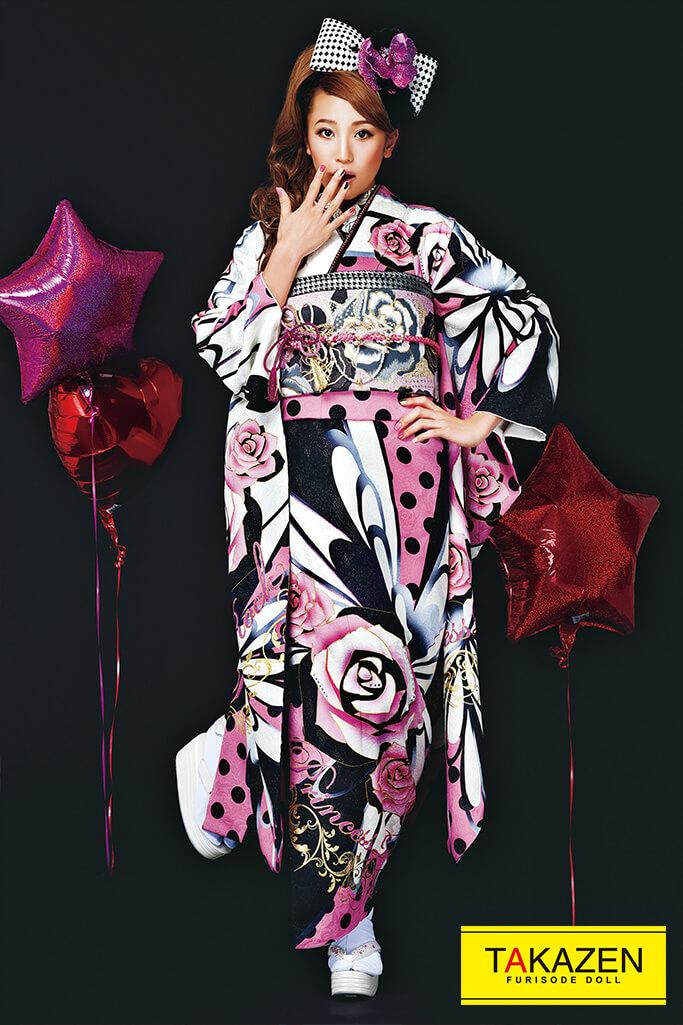 【成人式人気振袖/レンタルフルセット/通販可】ドット柄可愛い(お得で安い!) ピンク/黒/白 32190