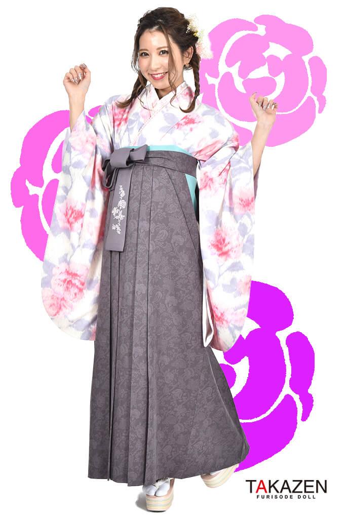 【卒業式袴レンタル/通販可】派手可愛いJILLSTUART(ジルスチュアート) 白/ピンク/グレー C30034
