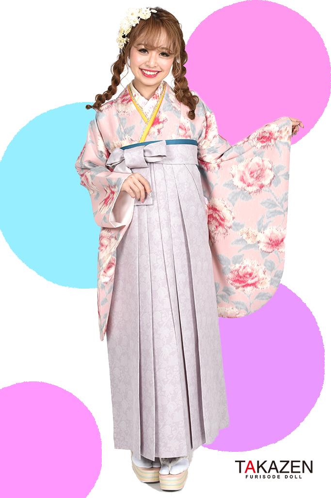 【卒業式袴レンタル/通販可】派手可愛いJILLSTUART(ジルスチュアート) ピンク/グレー C30036