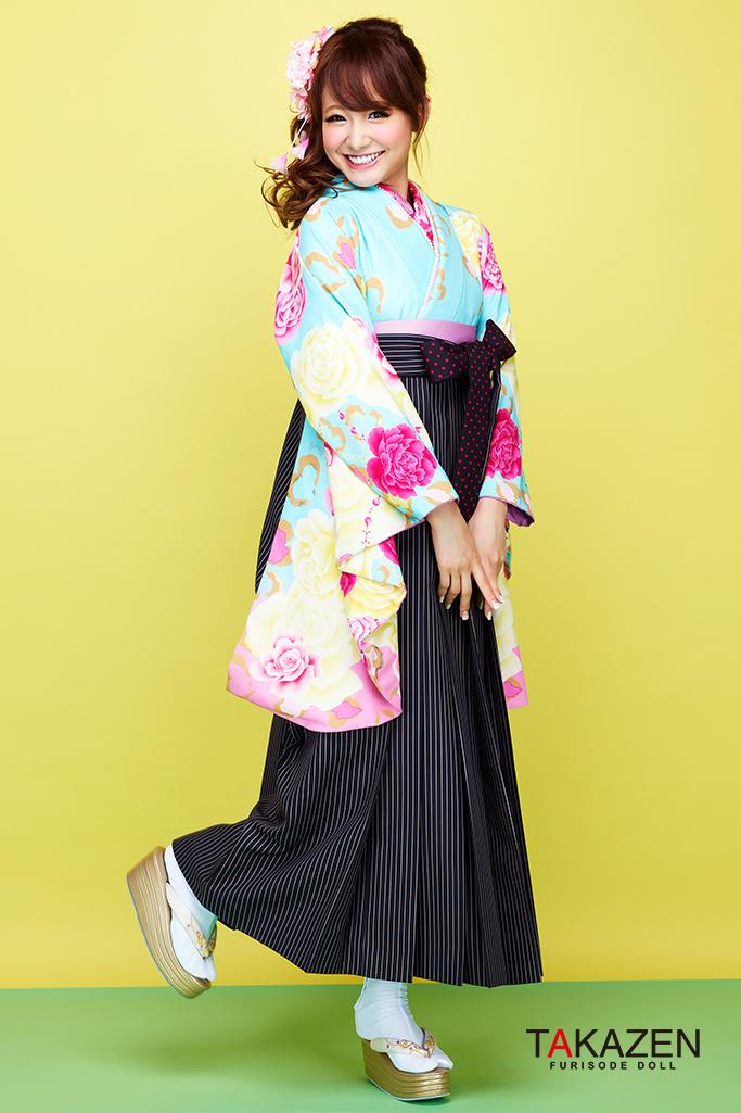 【卒業式袴レンタル/通販可】派手可愛い(小学生にも人気) ピンク/黒/ブルー(水色) C30045