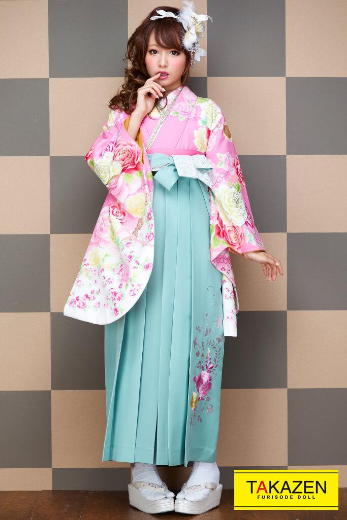 【卒業式袴レンタル/通販可】派手可愛いリズリサ(小学生にも人気) ピンク/グリーン(緑色) C30047