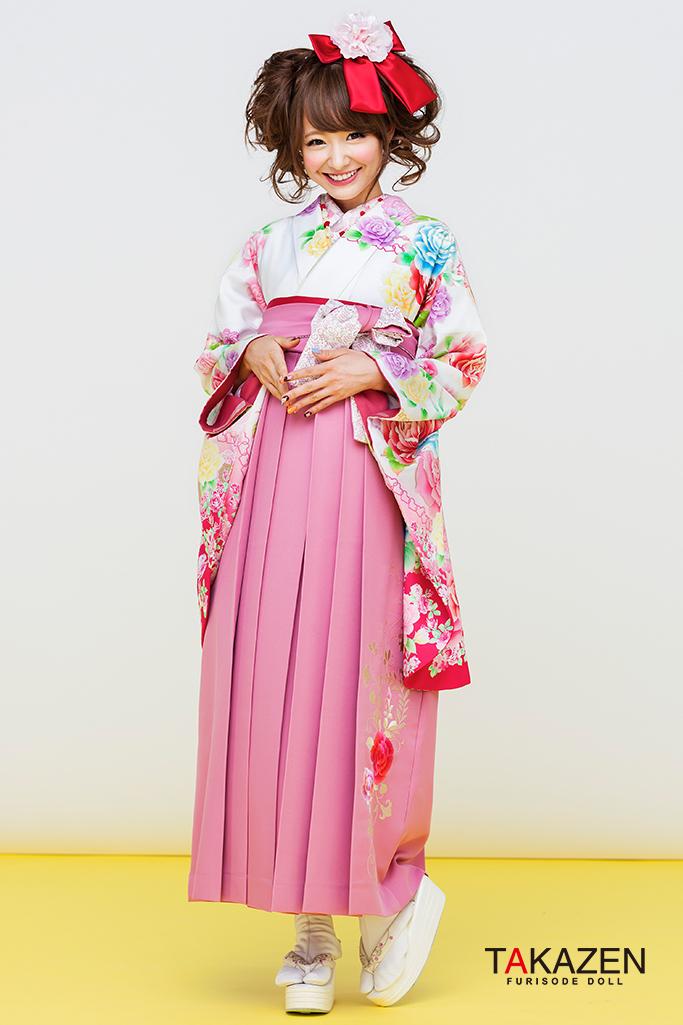 【卒業式袴レンタル/通販可】派手可愛いリズリサ(小学生にも人気) 白/ピンク C30048