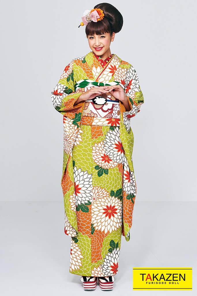 【成人式人気着物/レンタルフルセット/通販可】レトロモダン人気個性的(可愛いおしゃれ大柄) 黄緑/オレンジ #F0012