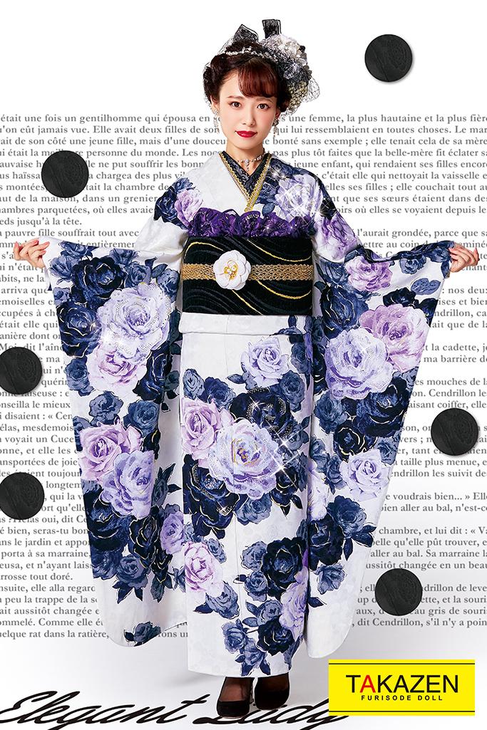 【成人式人気振袖/レンタルフルセット/通販可】おしゃれヘップバーン(派手バラ柄可愛い) 白/紫 #F0019