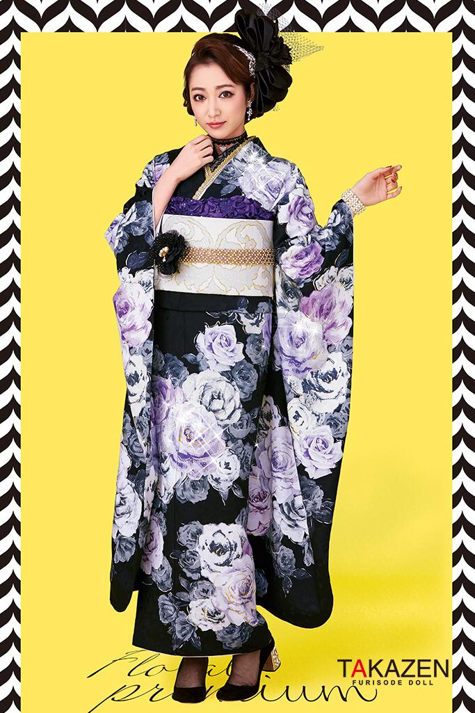 【成人式人気振袖/レンタルフルセット/通販可】おしゃれヘップバーン(上品バラ柄可愛い) 黒/紫 #F0020
