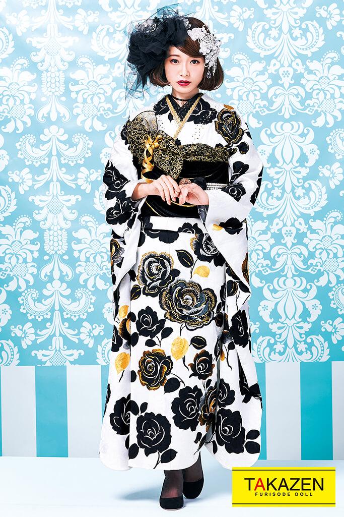 【成人式人気着物/レンタルフルセット/通販可】最高級プレミアムヘップバーン(可愛い目立つおしゃれ) 白/黒 32030
