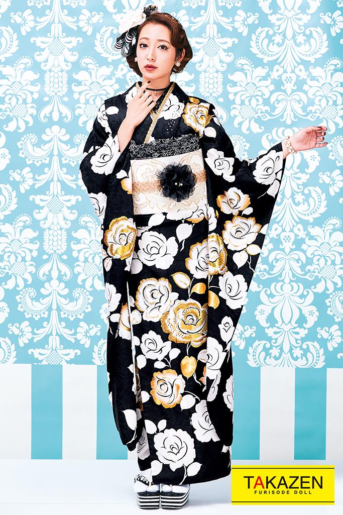 【成人式人気振袖/レンタルフルセット/通販可】おしゃれヘップバーン(上品バラ柄可愛い) 黒/白 #F0022