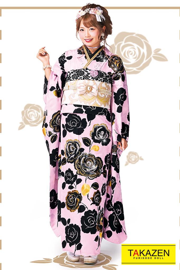 【成人式人気振袖/レンタルフルセット/通販可】オシャレヘップバーン(バラ柄可愛いキラキラ) ピンク/黒 #F0024