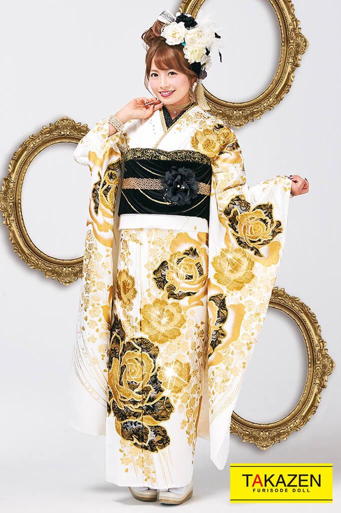 【成人式人気着物/レンタルフルセット/通販可】おしゃれヘップバーン(レース可愛いキラキラ) 白/ゴールド(金色) #F0025