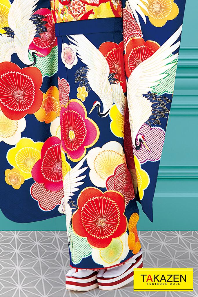 個性的おしゃれレトロ古典(大柄かわいい鶴柄) 紺/ピンク/オレンジ #F0036