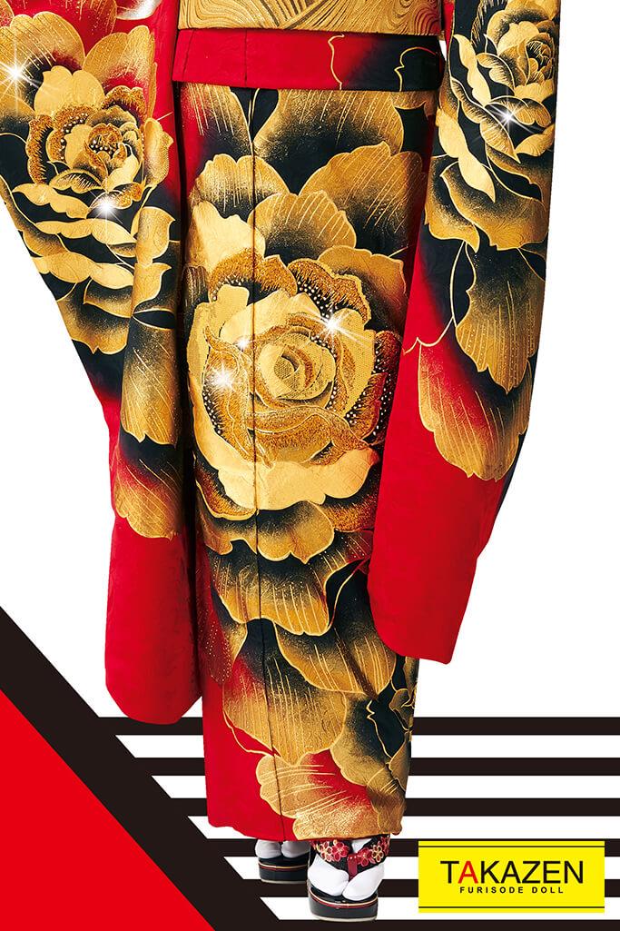 【成人式人気着物/レンタルフルセット/通販可】派手1番目立つクール(豪華大柄モード) 赤/黒/ゴールド(金色) #F0069