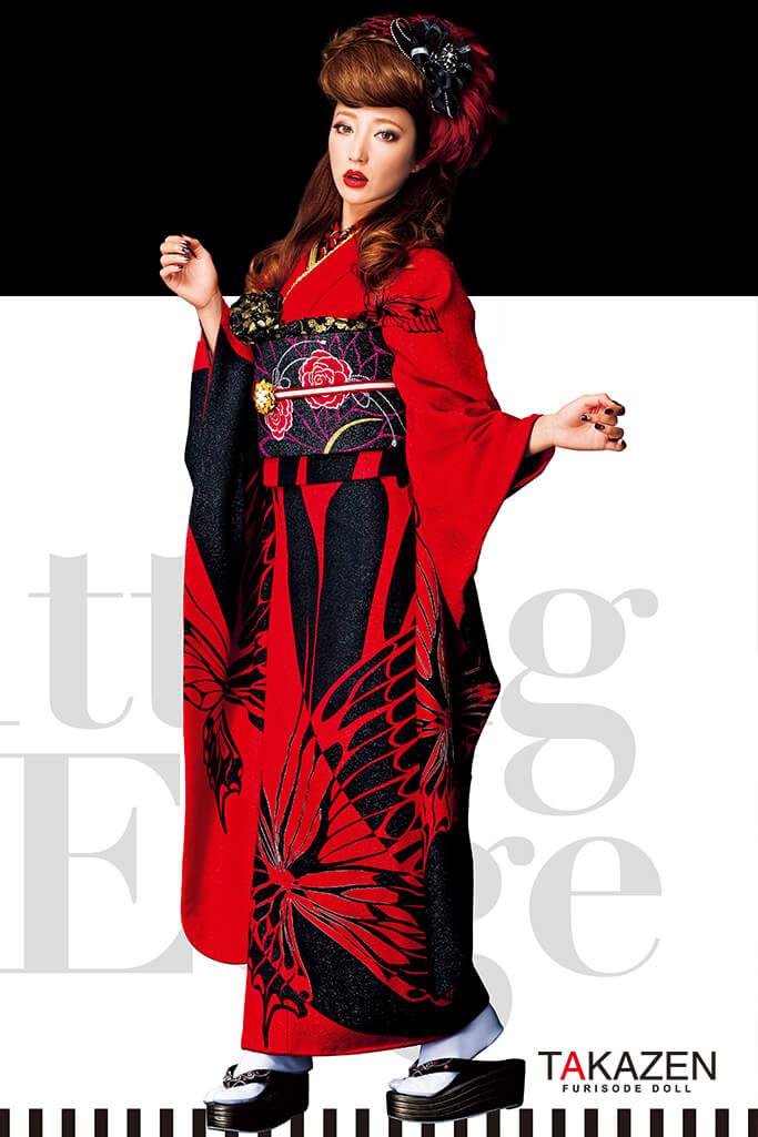 【成人式人気振袖/レンタルフルセット/通販可】流行り目立つグラマラス(シンプル蝶々柄) 黒/赤 #F0090