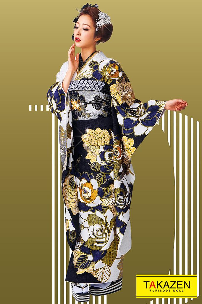 【成人式人気着物/レンタルフルセット/通販可】かっこいいグラマラス系(オシャレなバラ柄) 黒/ゴールド(金色) #F0091