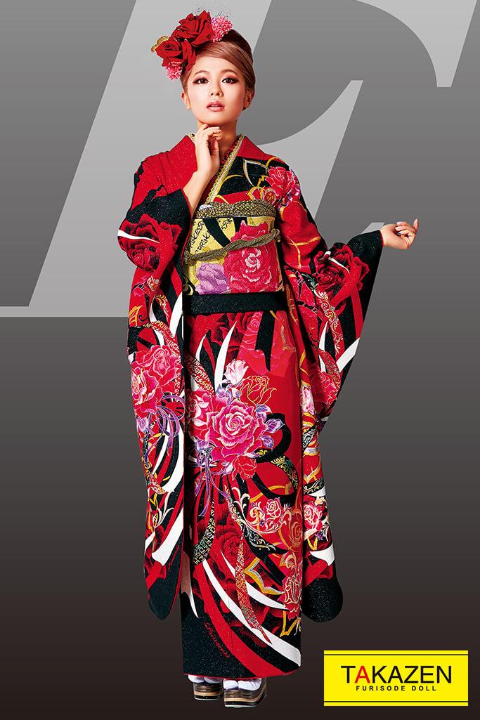 【成人式人気振袖/レンタルフルセット/通販可】流行りかっこいい系(オシャレバラ柄) 黒/赤 #F0092
