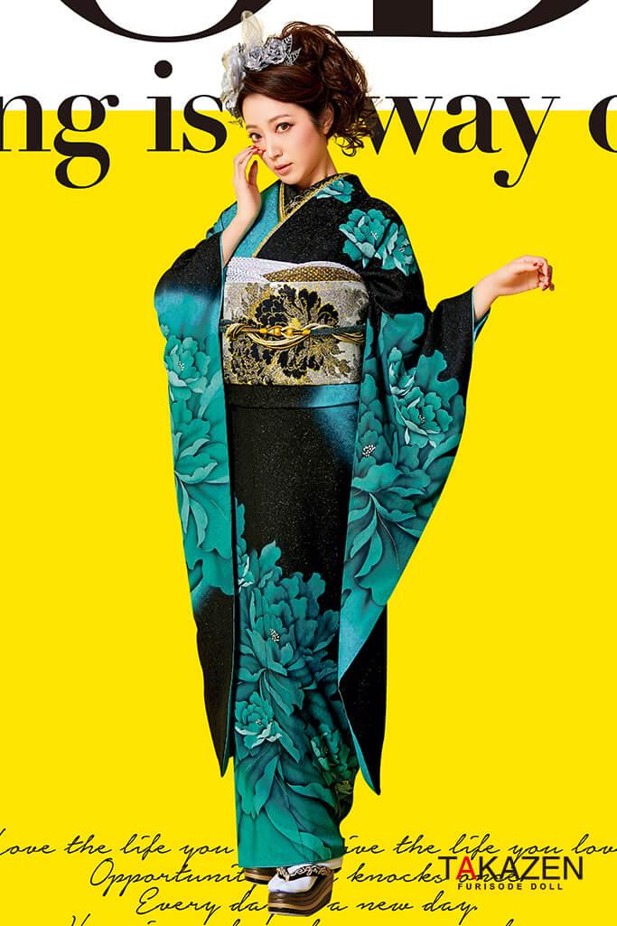 【成人式人気振袖/レンタルフルセット/通販可】シンプルかっこいい系(シンプル流行りクール) 黒/グリーン(緑色) #F0093