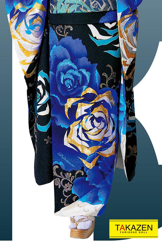 【成人式人気着物/レンタルフルセット/通販可】派手豪華クール系(目立つ薔薇柄) 黒/ブルー(青色)/ゴールド(銀色) #F0096