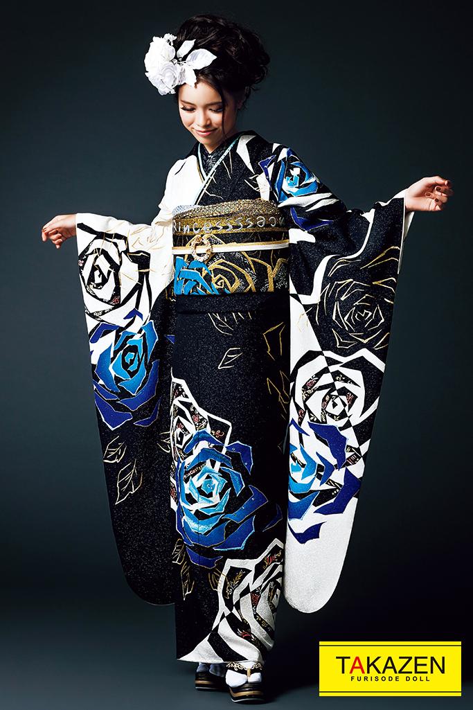 【成人式人気振袖/レンタルフルセット/通販可】派手カッコイイ(豪華目立つ可愛い) 黒/白/ブルー(青色) #F0099
