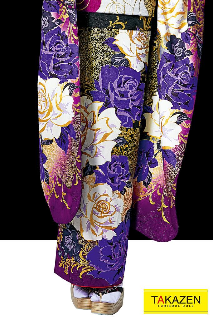 【成人式人気着物/レンタルフルセット/通販可】MURUA派手クール(目立つオシャレ薔薇大柄) 紫/黒 #F0102