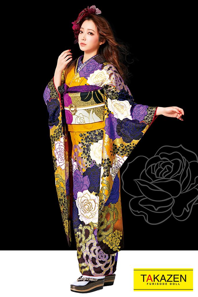 【成人式人気振袖/レンタルフルセット/通販可】MURUA派手かっこいい(豪華目立つ薔薇大柄) からし/紫/黒 #F0103