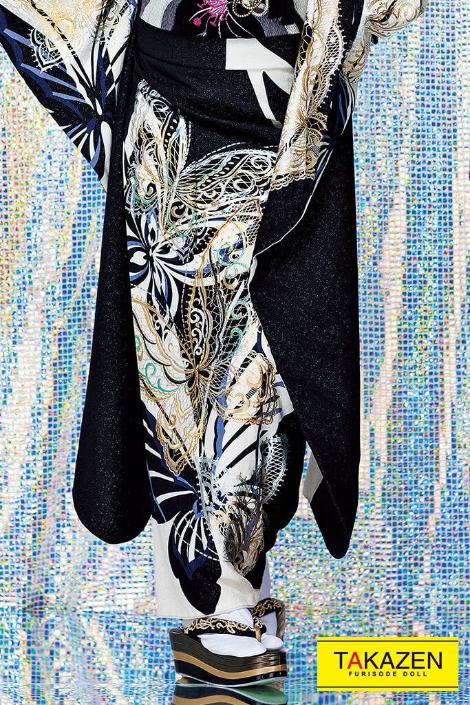 【成人式人気着物/レンタルフルセット/通販可】被らないクール蝶々柄(お得な激安プライス) 黒/白 #F0106