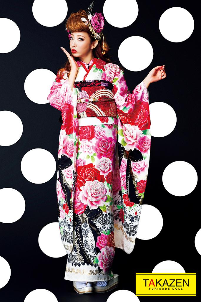 【成人式人気振袖/レンタルフルセット/通販可】おしゃれヘップバーン(派手可愛いリボン柄) 白/ピンク/黒 #F0108
