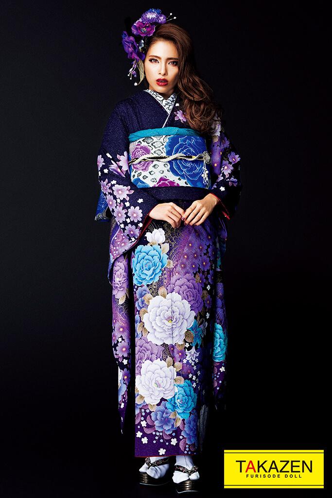 【成人式人気着物/レンタルフルセット/通販可】派手カッコイイ目立つ(お得な格安プラン) 紫/ブルー(青色) #F0110