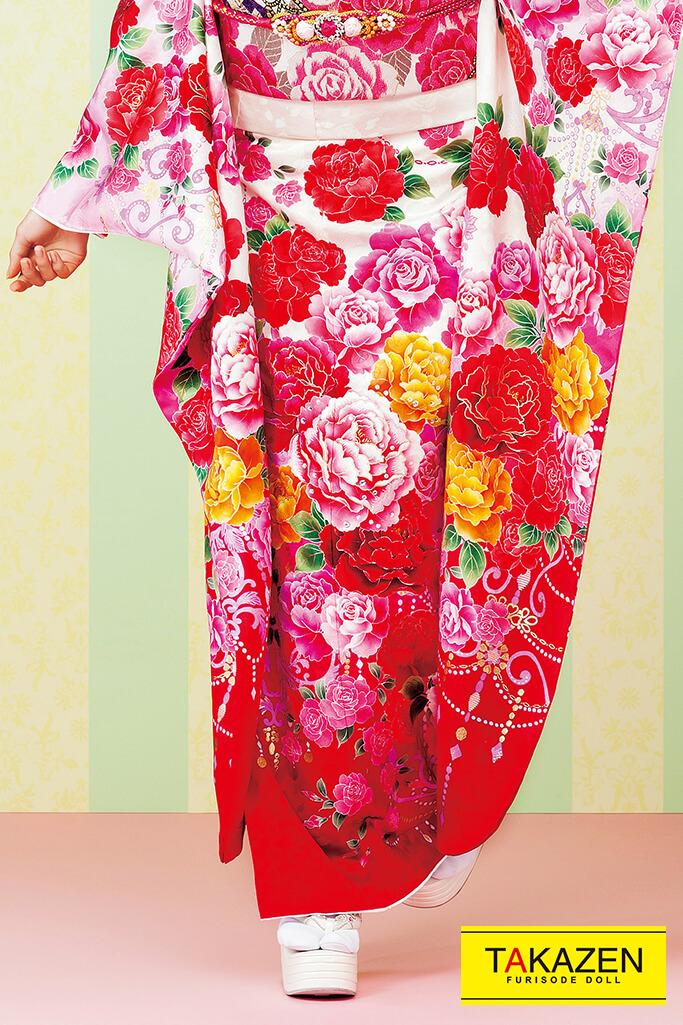 【成人式人気振袖/レンタルフルセット/通販可】派手キュート(ゆるふわ可愛いバラ柄) 白/ピンク/赤 #F0113