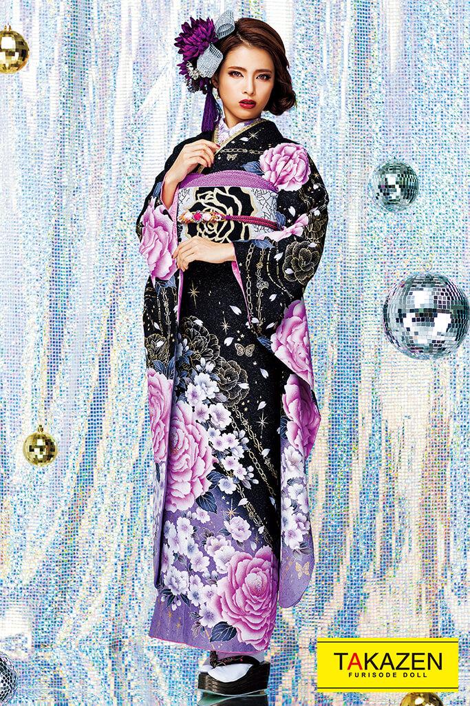【成人式人気着物/レンタルフルセット/通販可】目立つクール系(かっこいいバラ柄) 黒/紫 #F0114