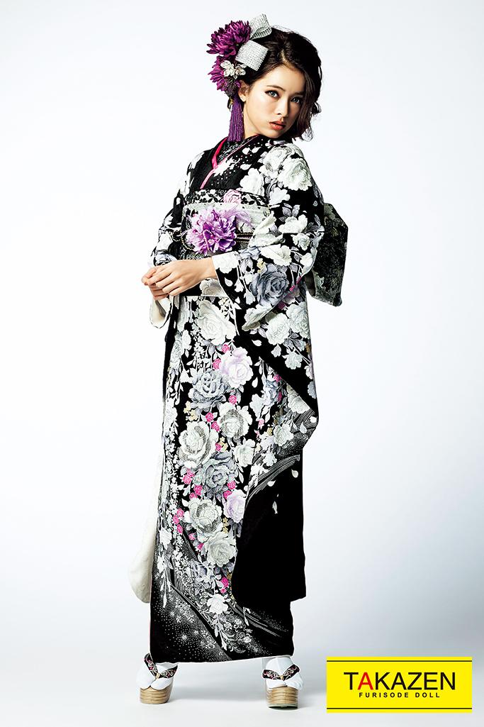 【成人式人気着物/レンタルフルセット/通販可】おしゃれかっこいい系(シンプル薔薇柄) 黒/白/ピンク #F0116