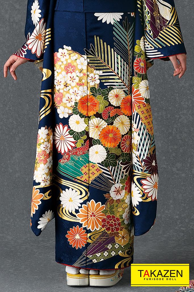 【成人式人気着物/レンタルフルセット/通販可】綺麗上品古典(高級大人っぽい) 紺/オレンジ/ブルー(青色) 1枚限定商品♡K0081