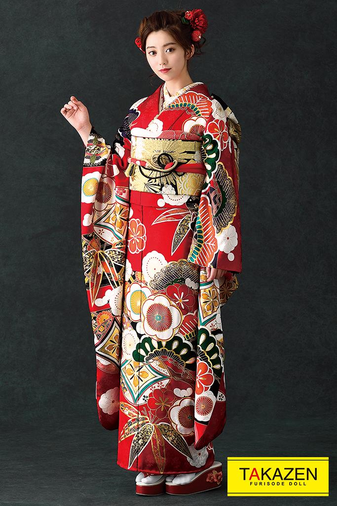 【成人式人気振袖/レンタルフルセット/通販可】上品かわいい古典(ポップな桜柄) 赤/白/グリーン(緑色) K0084