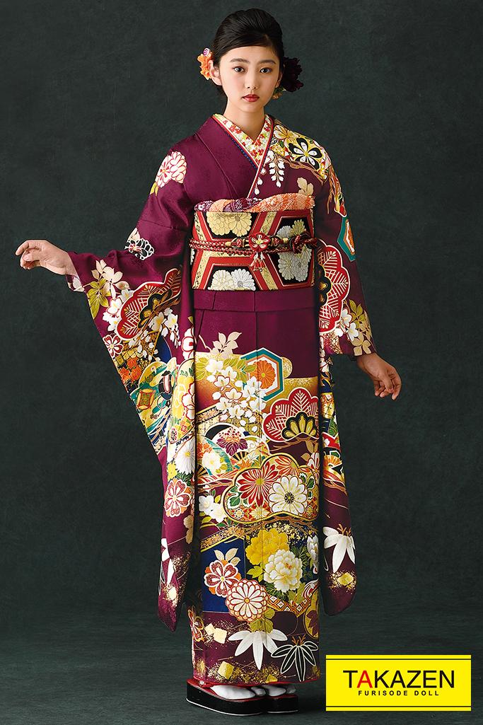 【成人式人気着物/レンタルフルセット/通販可】上品大人っぽい古典(豪華松柄) 紫/ワインレッド K0087