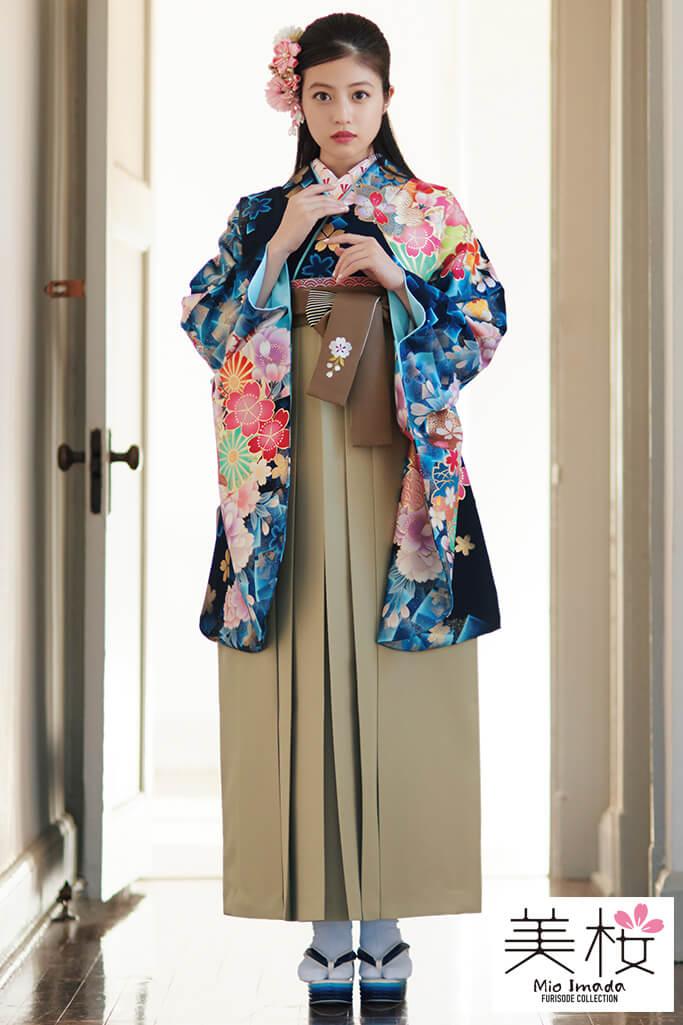 【卒業式袴レンタル/通販可】上品かわいい古典(綺麗な桜柄) 紺/赤/ピンク K21007