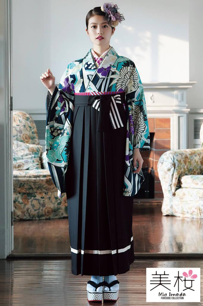 【卒業式袴レンタル/通販可】華やか清楚古典(上品豪華) 白/紺/ブルー(青色) K21009
