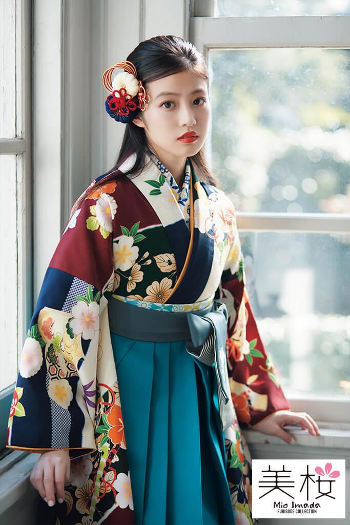 【卒業式袴レンタル/通販可】上品おちついた古典(可愛い桜柄) 白/赤/ブルー(青色) K21010
