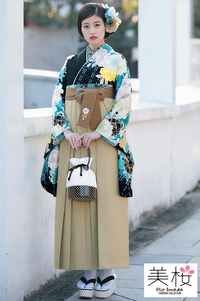 【卒業式袴レンタル/通販可】上品清楚古典(大人可愛いサクラ柄) 黄/紺/ブルー(水色) K21012