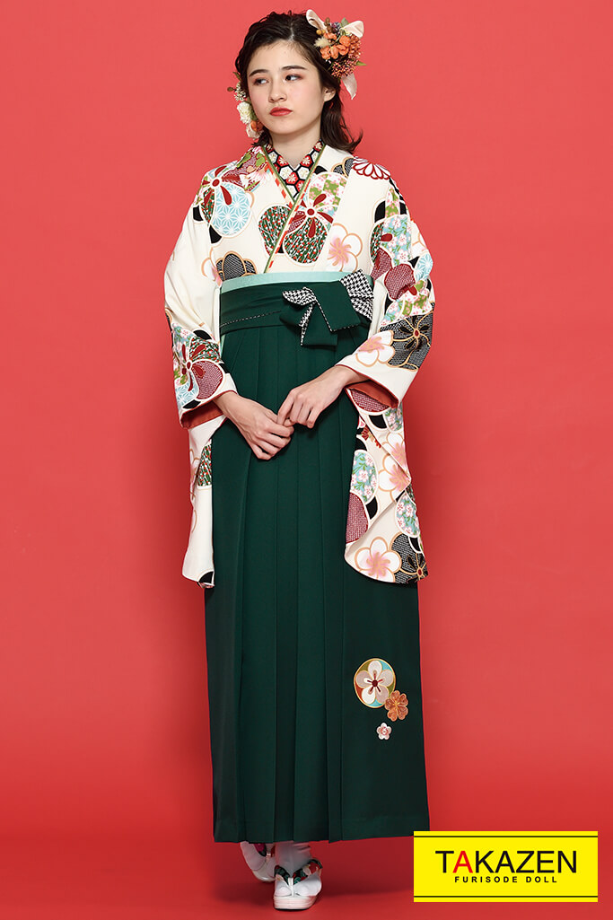 【卒業式袴レンタル/通販可】清楚古風古典(かわいい花柄) 白/クリーム/アイボリー K21014