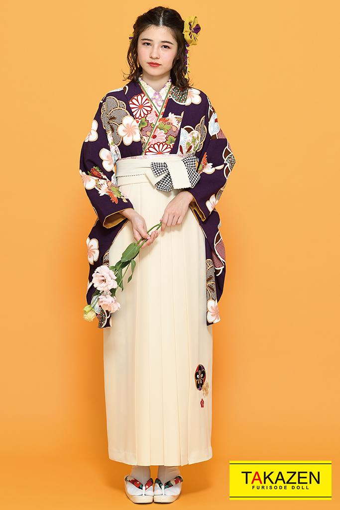 【卒業式袴レンタル/通販可】個性的古風古典(おしゃれな花柄) 茶/白/クリーム K21015